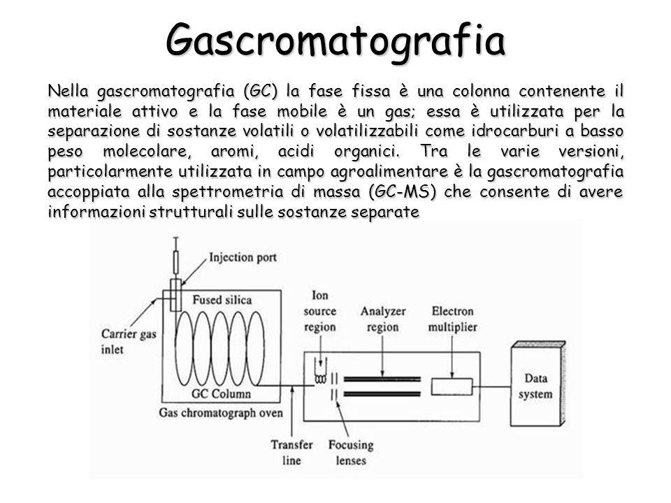 Gascromatografia Nella gascromatografia (GC) la fase fissa è una colonna contenente il materiale attivo e la fase mobile è un gas; essa è utilizzata per la separazione di sostanze volatili o volatilizzabili come idrocarburi a basso peso molecolare, aromi, acidi organici.