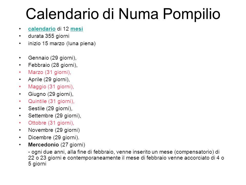 Calendario di Numa Pompilio calendario di 12 mesicalendariomesi durata 355 giorni inizio 15 marzo (luna piena) Gennaio (29 giorni), Febbraio (28 giorni), Marzo (31 giorni), Aprile (29 giorni), Maggio (31 giorni), Giugno (29 giorni), Quintile (31 giorni), Sestile (29 giorni), Settembre (29 giorni), Ottobre (31 giorni), Novembre (29 giorni) Dicembre (29 giorni).