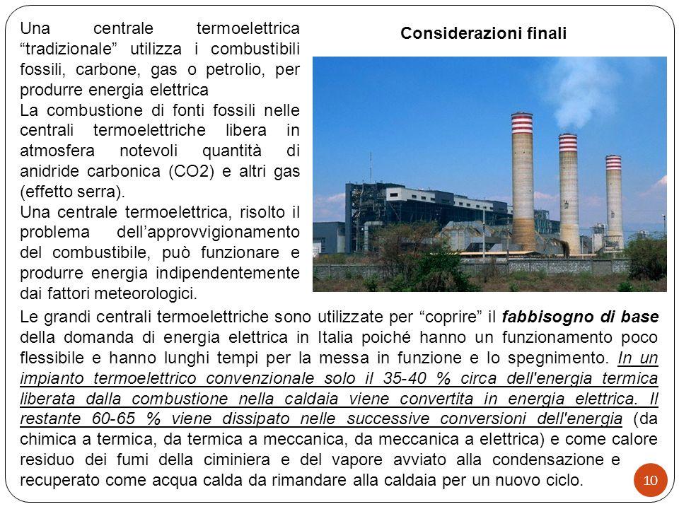 Le grandi centrali termoelettriche sono utilizzate per coprire il fabbisogno di base della domanda di energia elettrica in Italia poiché hanno un funzionamento poco flessibile e hanno lunghi tempi per la messa in funzione e lo spegnimento.