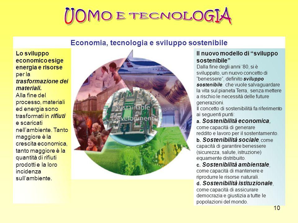 10 Economia, tecnologia e sviluppo sostenibile Lo sviluppo economico esige energia e risorse per la trasformazione dei materiali. Alla fine del proces