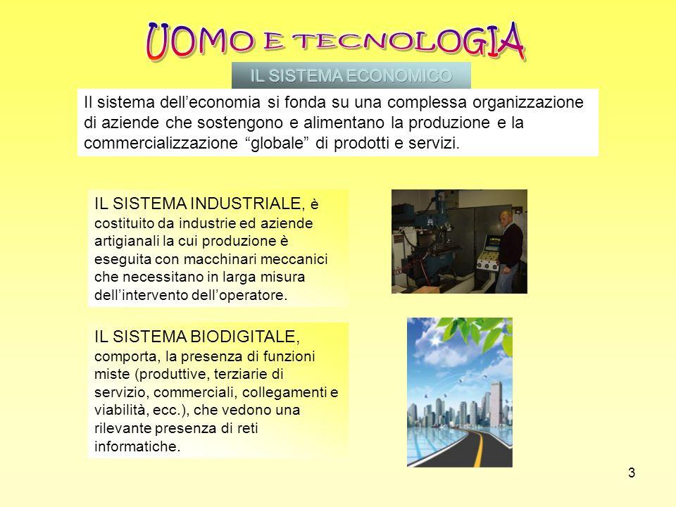 3 IL SISTEMA INDUSTRIALE, è costituito da industrie ed aziende artigianali la cui produzione è eseguita con macchinari meccanici che necessitano in la