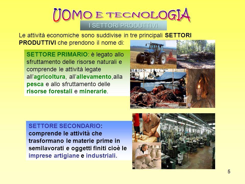 5 SETTORE SECONDARIO: comprende le attività che trasformano le materie prime in semilavorati e oggetti finiti cioè le imprese artigiane e industriali.