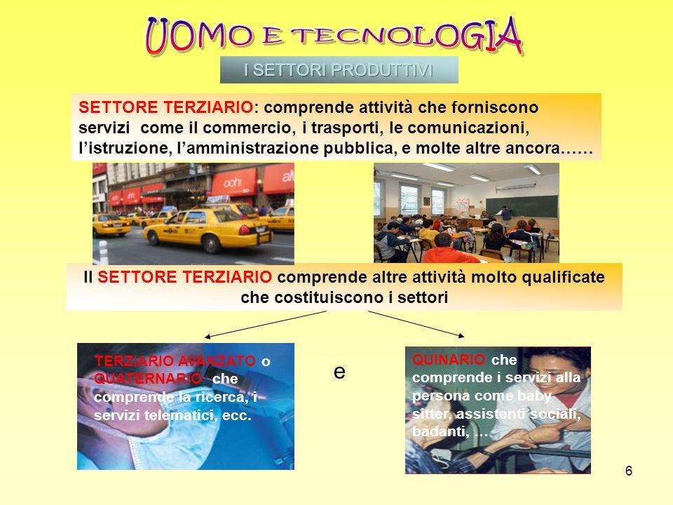 6 Il SETTORE TERZIARIO comprende altre attività molto qualificate che costituiscono i settori e SETTORE TERZIARIO: comprende attività che forniscono s