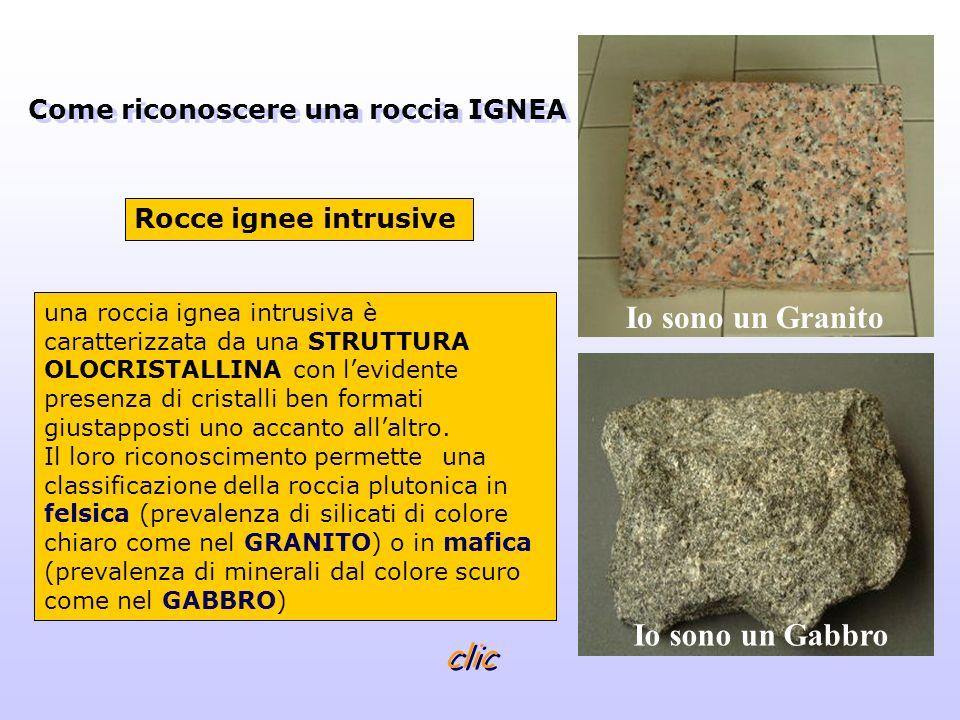 una roccia ignea effusiva è caratterizzata da varie strutture: STRUTTURA PORFIRICA con levidente presenza di pochi fenocristalli riconoscibili fra microcristalli o in una massa vetrosa (come nellANDESITE) STRUTTURA MICROCRISTALLINA con cristalli piccolissimi e non riconoscibili STRUTTURA VETROSA (come nellOSSIDIANA) STRUTTURA POMICEA caratterizzata da pori e vacuoli Rocce ignee effusive Come riconoscere una roccia IGNEA Io sono una andesite Io sono una ossidiana clic