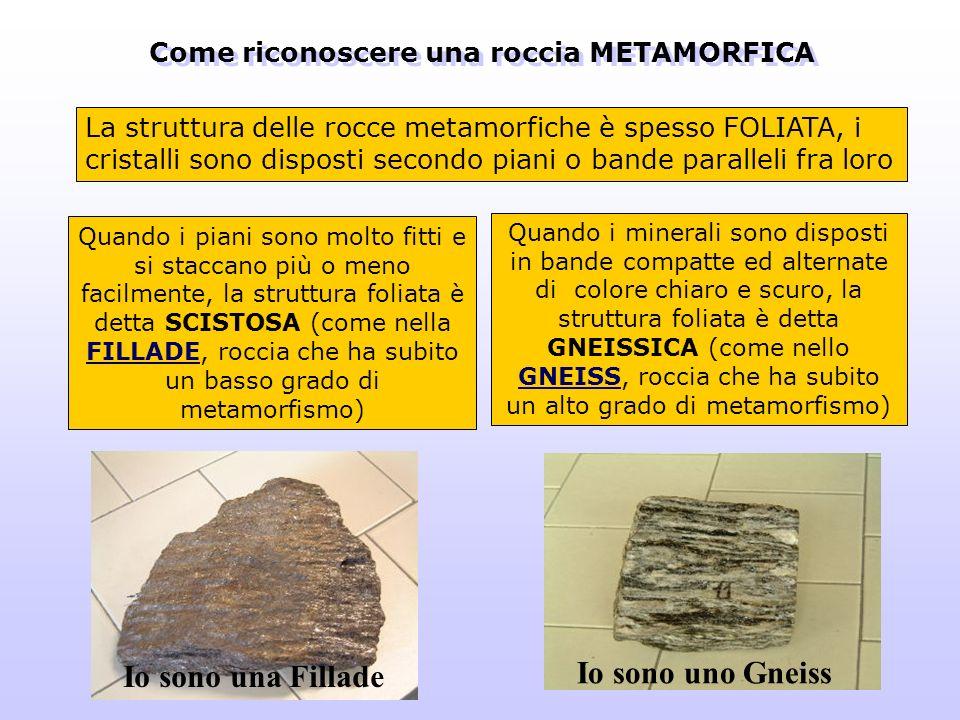 La struttura delle rocce metamorfiche è spesso FOLIATA, i cristalli sono disposti secondo piani o bande paralleli fra loro Quando i minerali sono disp