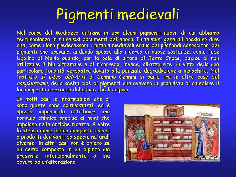 Pigmenti medievali Nel corso del Medioevo entrano in uso alcuni pigmenti nuovi, di cui abbiamo testimonianza in numerosi documenti dellepoca.