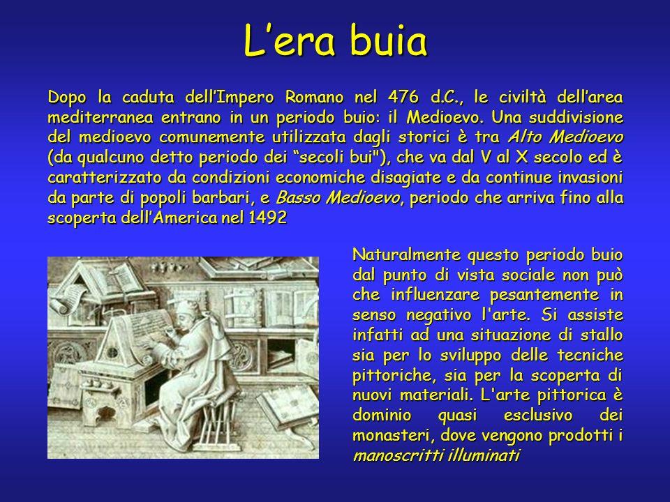 Lera buia Dopo la caduta dellImpero Romano nel 476 d.C., le civiltà dellarea mediterranea entrano in un periodo buio: il Medioevo.