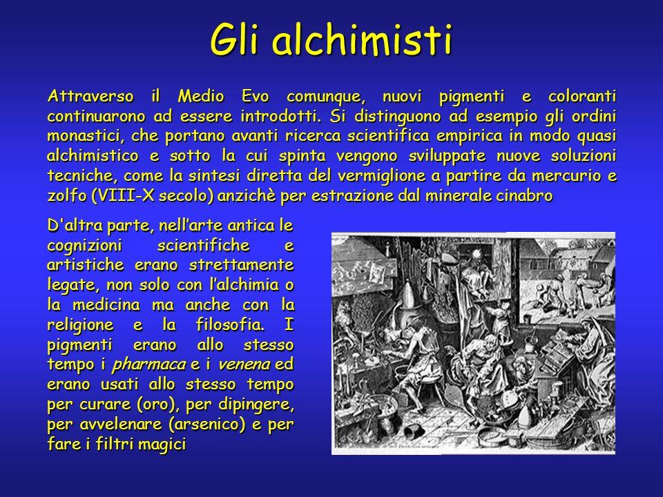 Gli alchimisti Attraverso il Medio Evo comunque, nuovi pigmenti e coloranti continuarono ad essere introdotti.