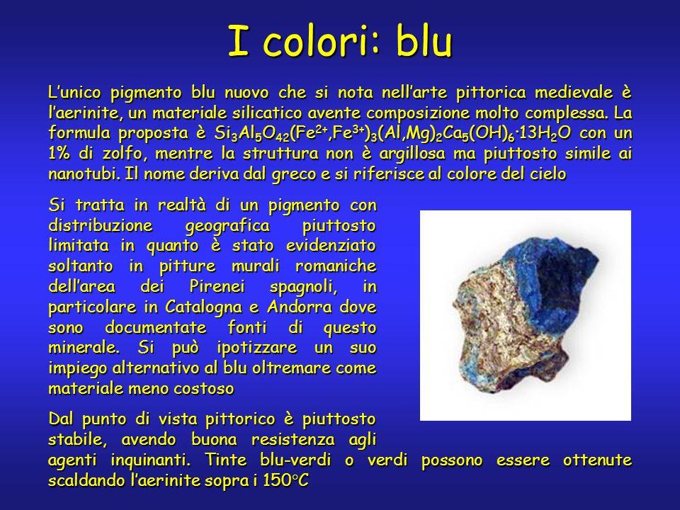 I colori: blu Lunico pigmento blu nuovo che si nota nellarte pittorica medievale è laerinite, un materiale silicatico avente composizione molto complessa.
