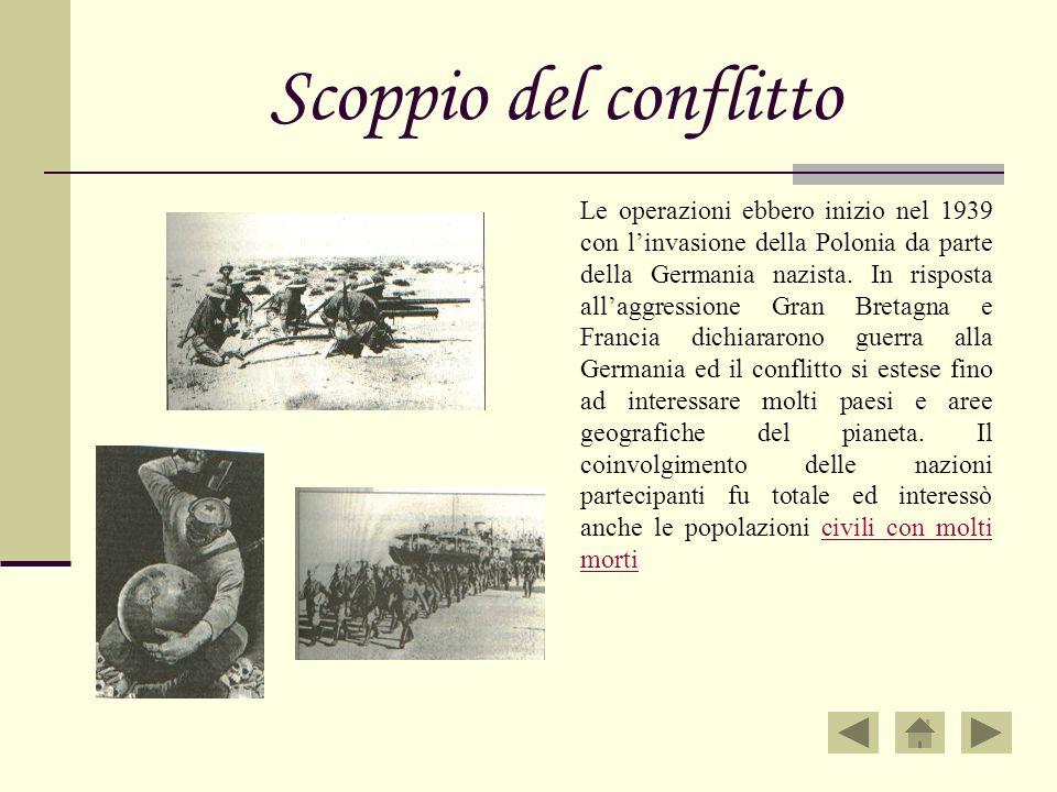 Scoppio del conflitto Le operazioni ebbero inizio nel 1939 con linvasione della Polonia da parte della Germania nazista. In risposta allaggressione Gr