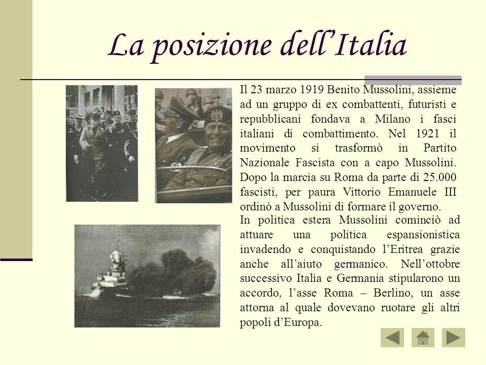 La posizione dellItalia Il 23 marzo 1919 Benito Mussolini, assieme ad un gruppo di ex combattenti, futuristi e repubblicani fondava a Milano i fasci i