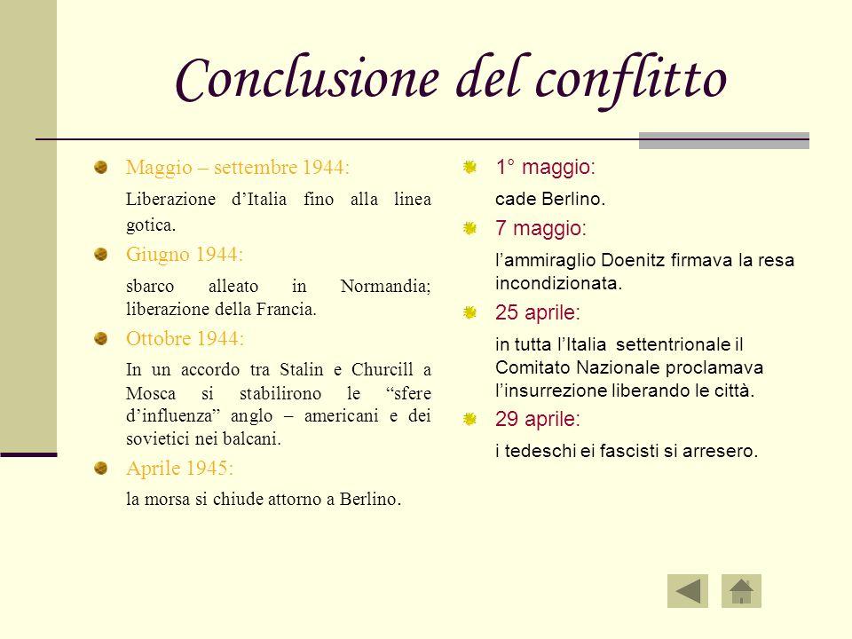 Conclusione del conflitto Maggio – settembre 1944: Liberazione dItalia fino alla linea gotica. Giugno 1944: sbarco alleato in Normandia; liberazione d