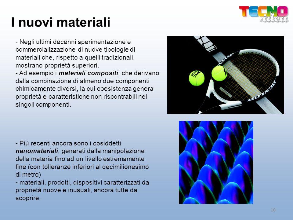 I nuovi materiali - Negli ultimi decenni sperimentazione e commercializzazione di nuove tipologie di materiali che, rispetto a quelli tradizionali, mo