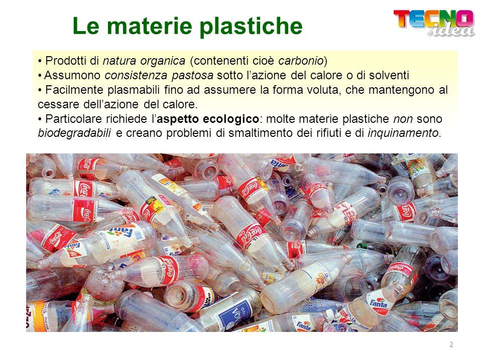Le materie plastiche Prodotti di natura organica (contenenti cioè carbonio) Assumono consistenza pastosa sotto lazione del calore o di solventi Facilm