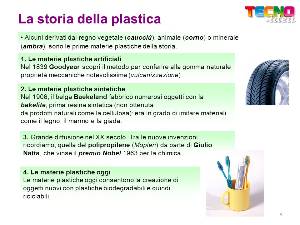 La storia della plastica 2. Le materie plastiche sintetiche Nel 1906, il belga Baekeland fabbricò numerosi oggetti con la bakelite, prima resina sinte
