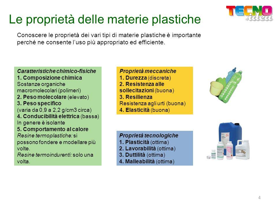 Le proprietà delle materie plastiche Conoscere le proprietà dei vari tipi di materie plastiche è importante perché ne consente luso più appropriato ed