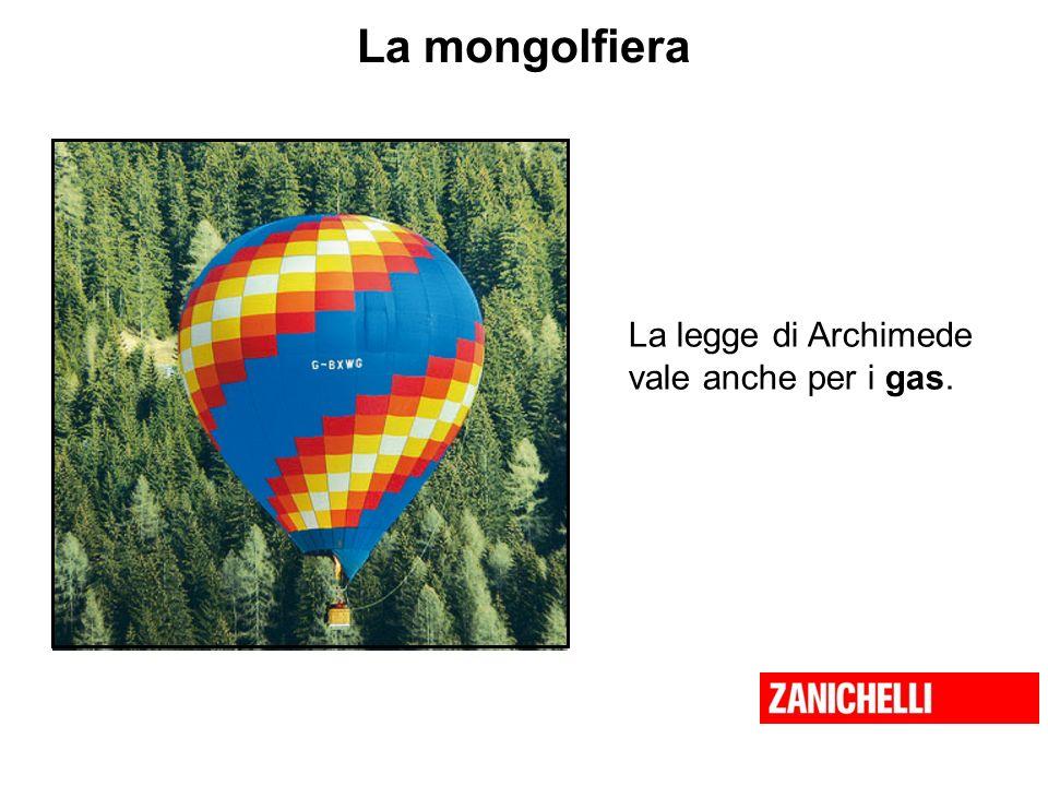 La mongolfiera La legge di Archimede vale anche per i gas.