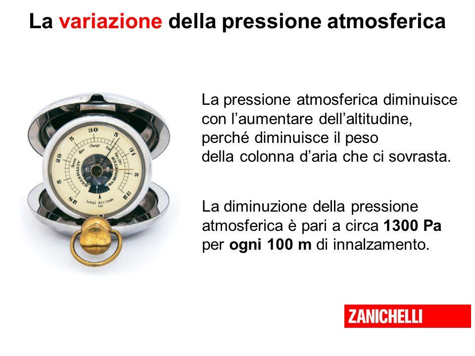 La variazione della pressione atmosferica La pressione atmosferica diminuisce con laumentare dellaltitudine, perché diminuisce il peso della colonna d
