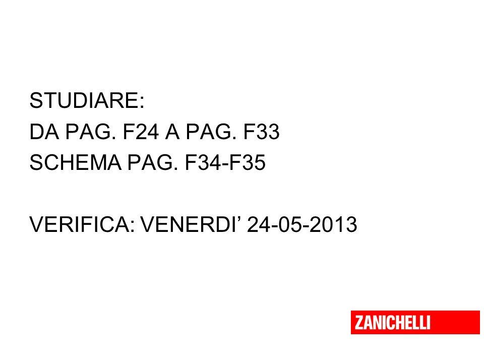 STUDIARE: DA PAG. F24 A PAG. F33 SCHEMA PAG. F34-F35 VERIFICA: VENERDI 24-05-2013