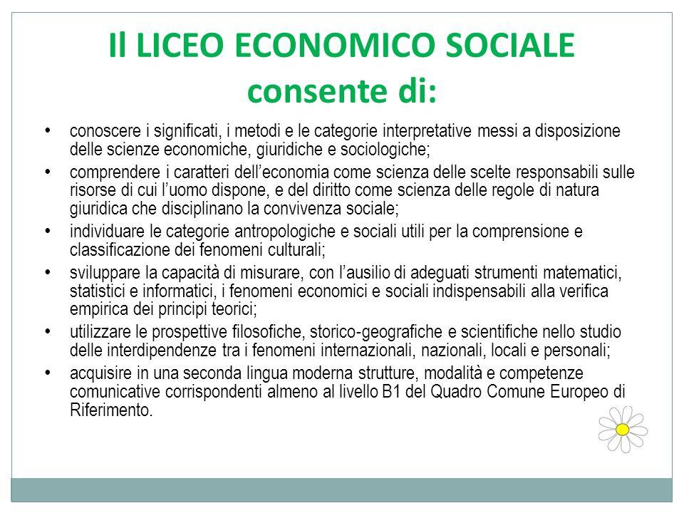 Il LICEO ECONOMICO SOCIALE consente di: conoscere i significati, i metodi e le categorie interpretative messi a disposizione delle scienze economiche,