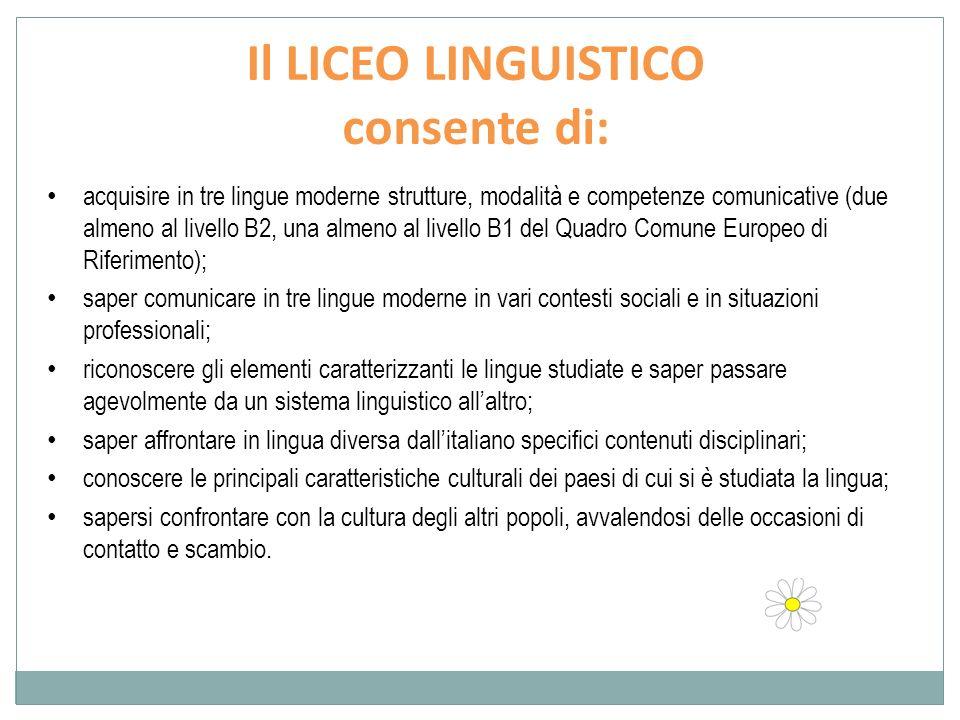 Il LICEO LINGUISTICO consente di: acquisire in tre lingue moderne strutture, modalità e competenze comunicative (due almeno al livello B2, una almeno