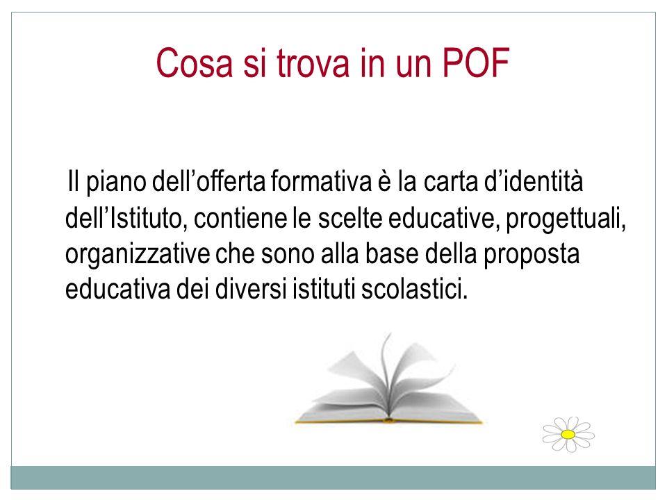 Cosa si trova in un POF Il piano dellofferta formativa è la carta didentità dellIstituto, contiene le scelte educative, progettuali, organizzative che sono alla base della proposta educativa dei diversi istituti scolastici.