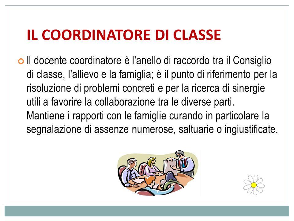 IL COORDINATORE DI CLASSE Il docente coordinatore è l'anello di raccordo tra il Consiglio di classe, l'allievo e la famiglia; è il punto di riferiment