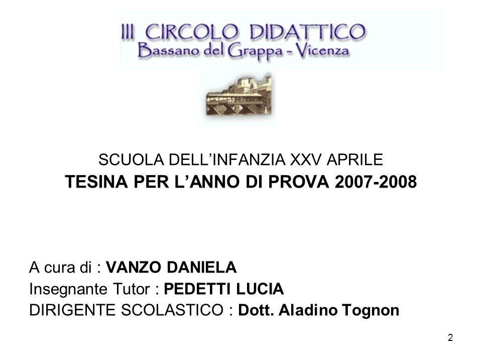 2 SCUOLA DELLINFANZIA XXV APRILE TESINA PER LANNO DI PROVA 2007-2008 A cura di : VANZO DANIELA Insegnante Tutor : PEDETTI LUCIA DIRIGENTE SCOLASTICO :
