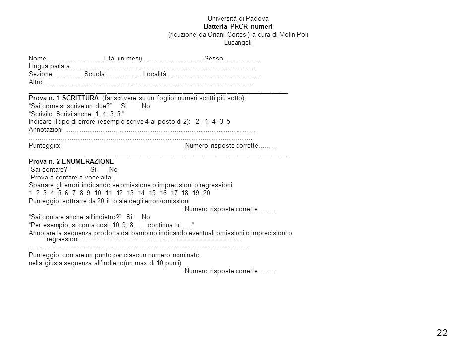 22 Università di Padova Batteria PRCR numeri (riduzione da Oriani Cortesi) a cura di Molin-Poli Lucangeli Nome………………………Età (in mesi)………………………..Sesso……