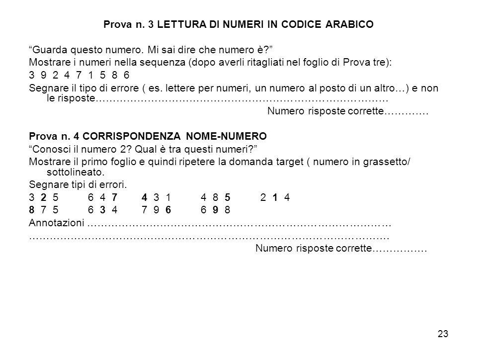 23 Prova n. 3 LETTURA DI NUMERI IN CODICE ARABICO Guarda questo numero. Mi sai dire che numero è? Mostrare i numeri nella sequenza (dopo averli ritagl