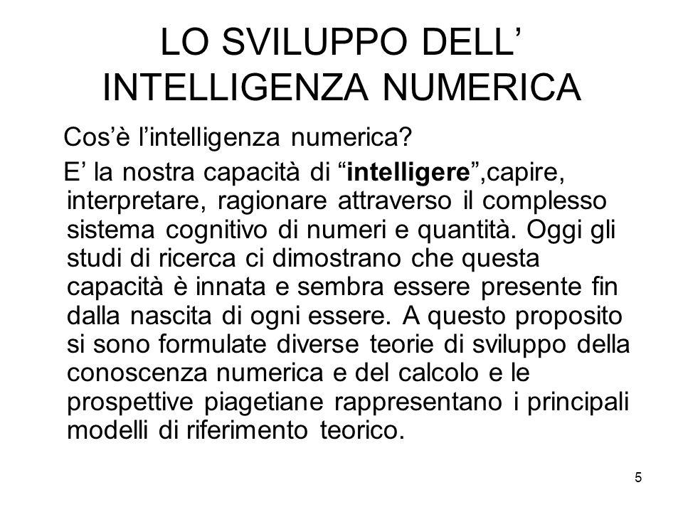 5 LO SVILUPPO DELL INTELLIGENZA NUMERICA Cosè lintelligenza numerica? E la nostra capacità di intelligere,capire, interpretare, ragionare attraverso i