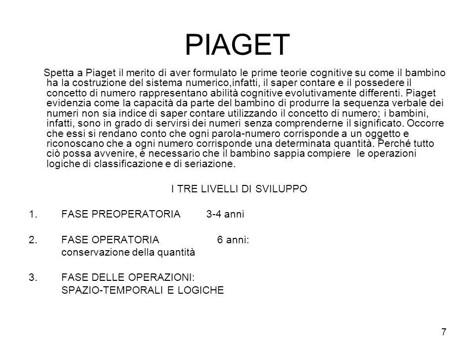 7 PIAGET Spetta a Piaget il merito di aver formulato le prime teorie cognitive su come il bambino ha la costruzione del sistema numerico,infatti, il s