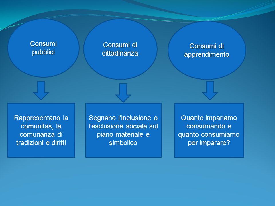 Consumi pubblici Consumi di cittadinanza Consumi di apprendimento Rappresentano la comunitas, la comunanza di tradizioni e diritti Segnano linclusione