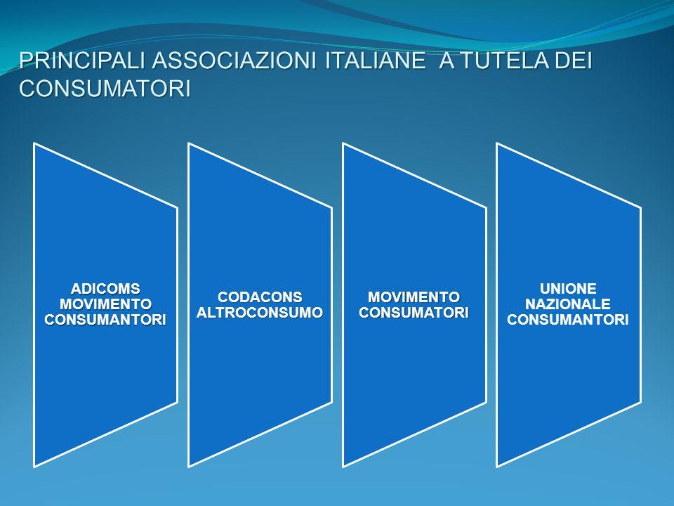 PRINCIPALI ASSOCIAZIONI ITALIANE A TUTELA DEI CONSUMATORI ADICOMS MOVIMENTO CONSUMANTORI CODACONS ALTROCONSUMO MOVIMENTO CONSUMATORI UNIONE NAZIONALE
