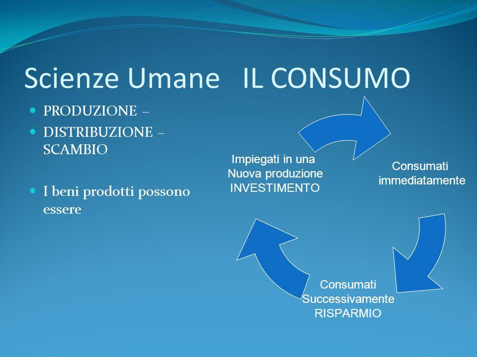 Scienze Umane IL CONSUMO PRODUZIONE – DISTRIBUZIONE – SCAMBIO I beni prodotti possono essere Consumati immediatamente Consumati Successivamente RISPAR