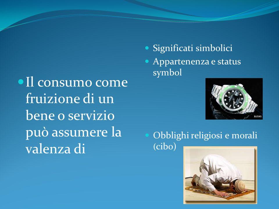 Il consumo come fruizione di un bene o servizio può assumere la valenza di Significati simbolici Appartenenza e status symbol Obblighi religiosi e mor