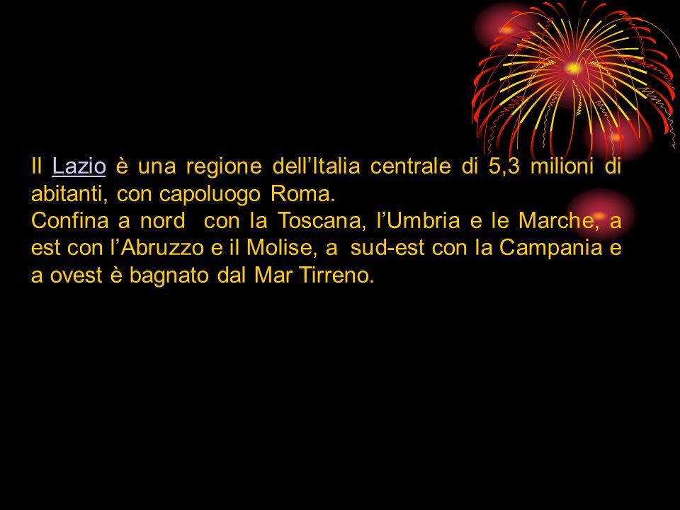 Il Lazio è una regione dellItalia centrale di 5,3 milioni di abitanti, con capoluogo Roma.Lazio Confina a nord con la Toscana, lUmbria e le Marche, a