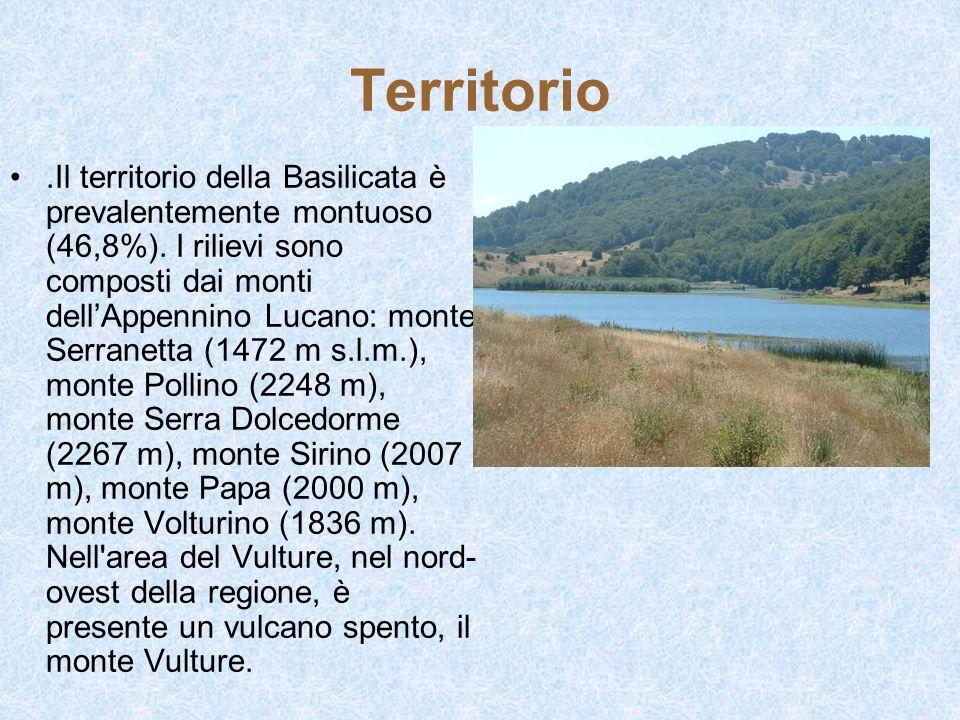 Territorio.Il territorio della Basilicata è prevalentemente montuoso (46,8%). I rilievi sono composti dai monti dellAppennino Lucano: monte Serranetta