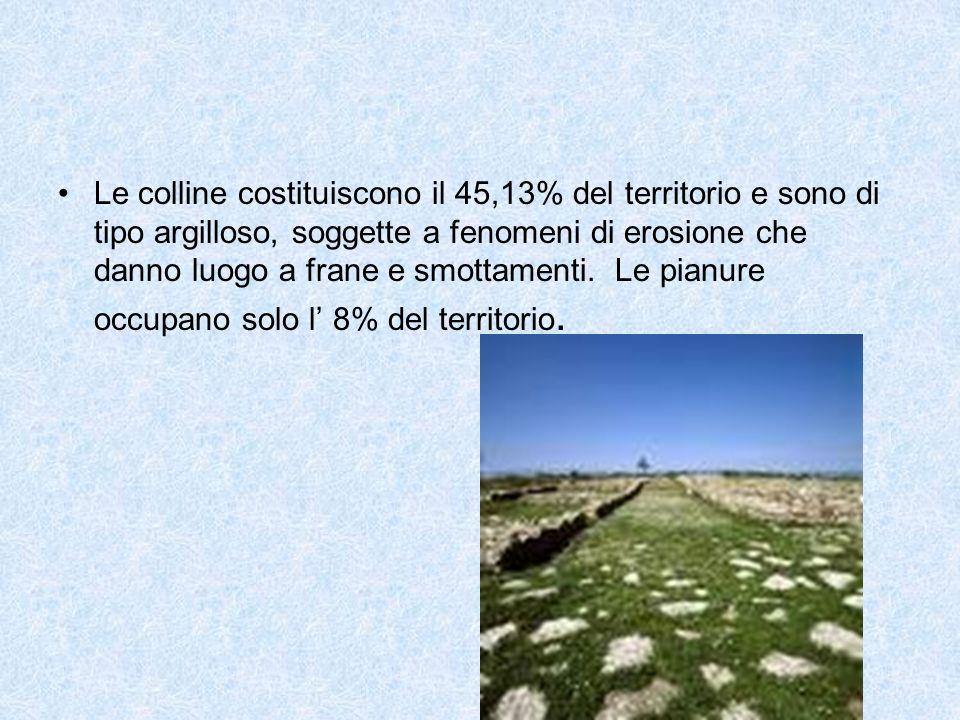 Le colline costituiscono il 45,13% del territorio e sono di tipo argilloso, soggette a fenomeni di erosione che danno luogo a frane e smottamenti. Le