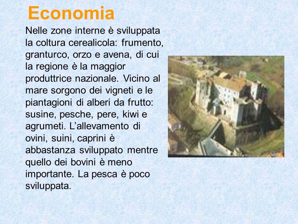 Economia Nelle zone interne è sviluppata la coltura cerealicola: frumento, granturco, orzo e avena, di cui la regione è la maggior produttrice naziona