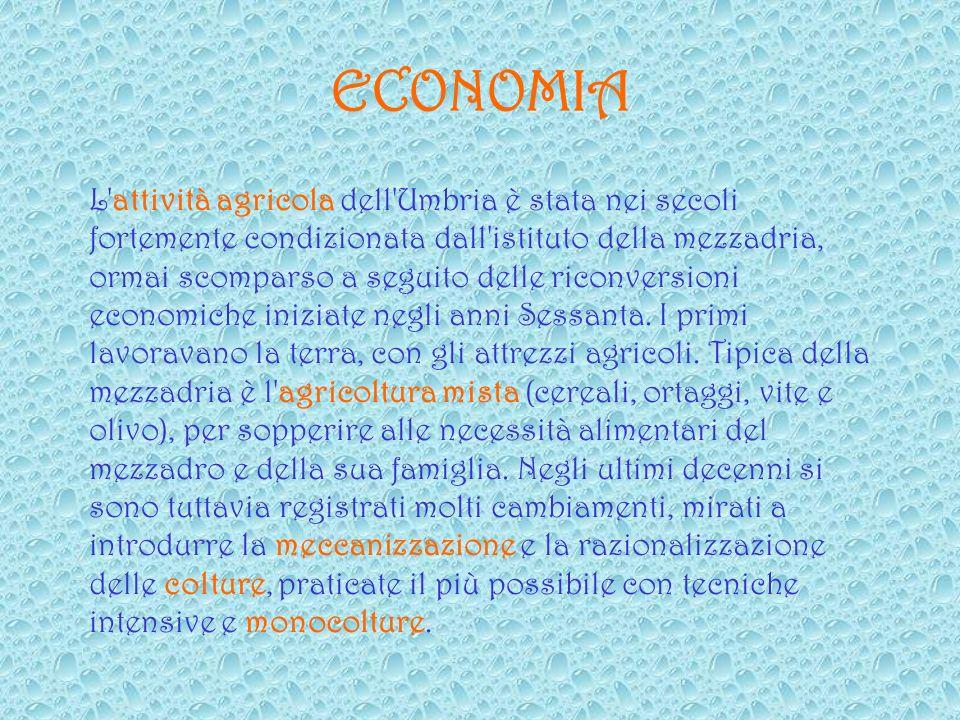 ECONOMIA L attività agricola dell Umbria è stata nei secoli fortemente condizionata dall istituto della mezzadria, ormai scomparso a seguito delle riconversioni economiche iniziate negli anni Sessanta.