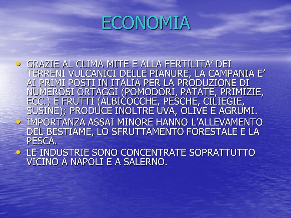 ECONOMIA GRAZIE AL CLIMA MITE E ALLA FERTILITA DEI TERRENI VULCANICI DELLE PIANURE, LA CAMPANIA E AI PRIMI POSTI IN ITALIA PER LA PRODUZIONE DI NUMERO