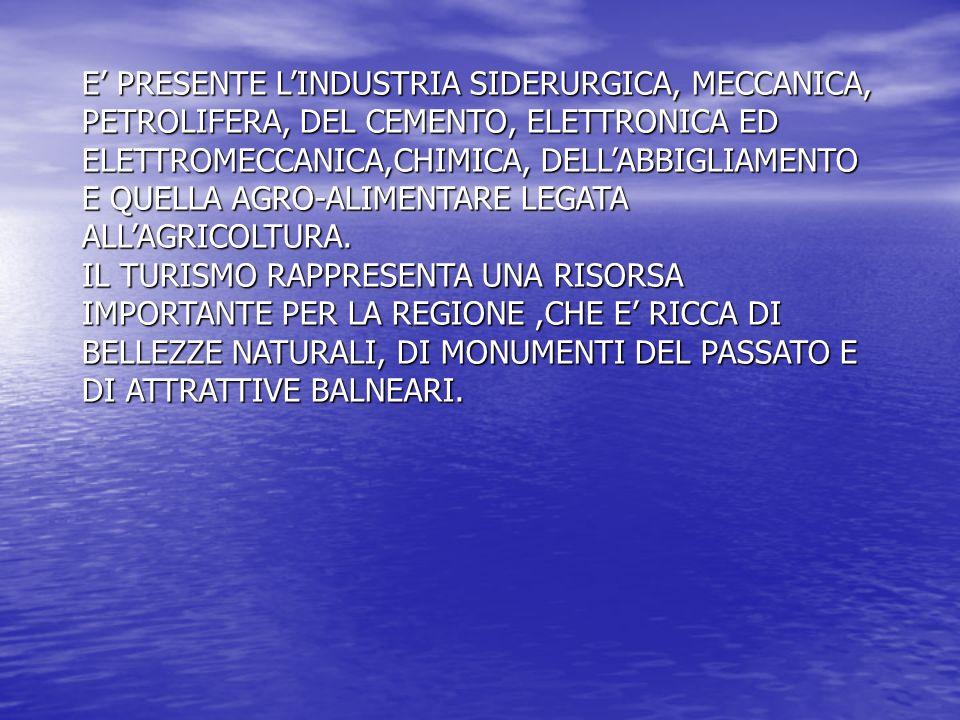 E PRESENTE LINDUSTRIA SIDERURGICA, MECCANICA, PETROLIFERA, DEL CEMENTO, ELETTRONICA ED ELETTROMECCANICA,CHIMICA, DELLABBIGLIAMENTO E QUELLA AGRO-ALIME