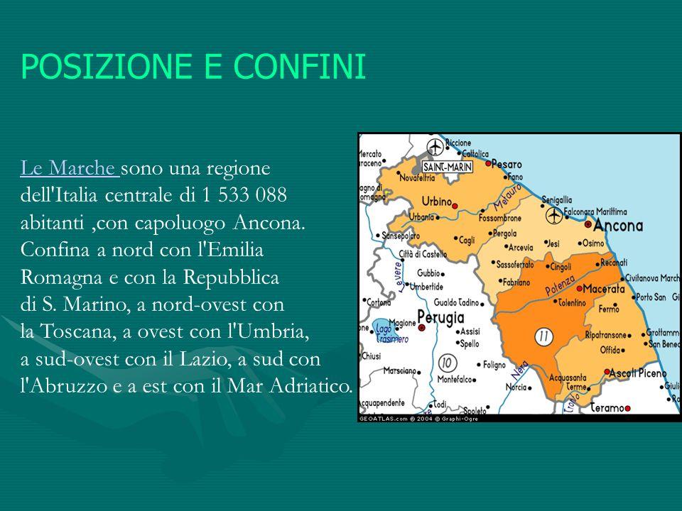 POSIZIONE E CONFINI Le Marche Le Marche sono una regione dell'Italia centrale di 1 533 088 abitanti,con capoluogo Ancona. Confina a nord con l'Emilia