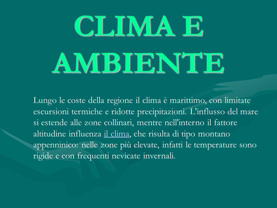 CLIMA E AMBIENTE Lungo le coste della regione il clima è marittimo, con limitate escursioni termiche e ridotte precipitazioni. L'influsso del mare si