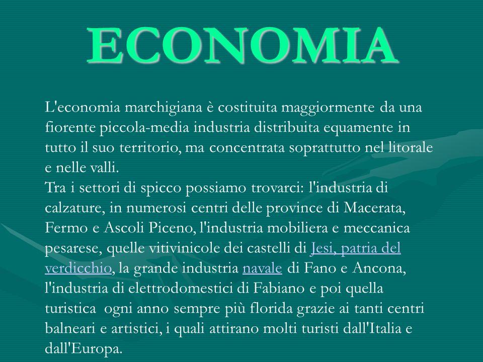 ECONOMIA L'economia marchigiana è costituita maggiormente da una fiorente piccola-media industria distribuita equamente in tutto il suo territorio, ma