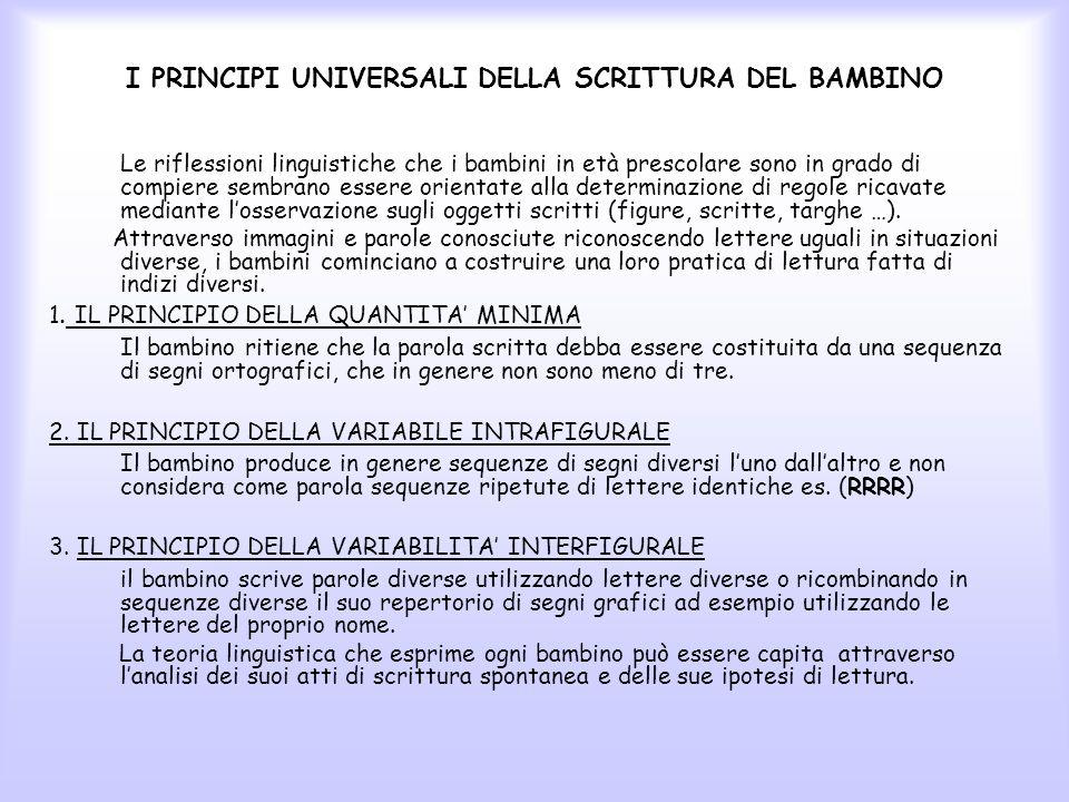 I PRINCIPI UNIVERSALI DELLA SCRITTURA DEL BAMBINO Le riflessioni linguistiche che i bambini in età prescolare sono in grado di compiere sembrano esser