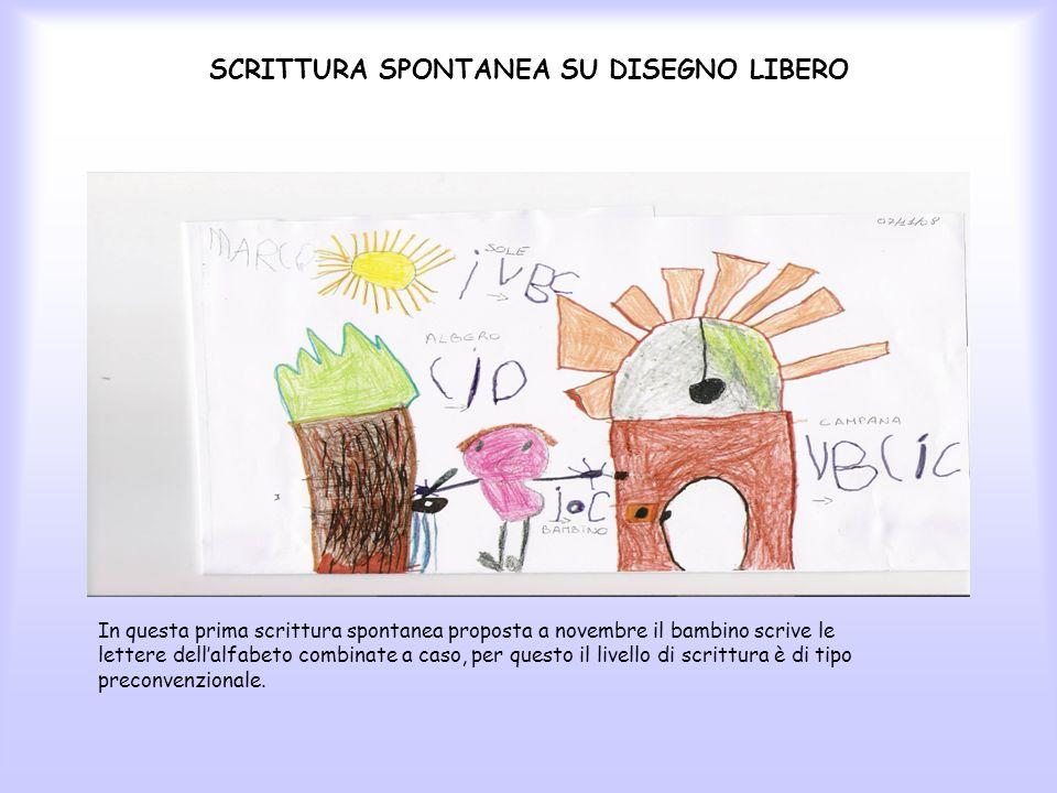 SCRITTURA SPONTANEA SU DISEGNO LIBERO In questa prima scrittura spontanea proposta a novembre il bambino scrive le lettere dellalfabeto combinate a ca