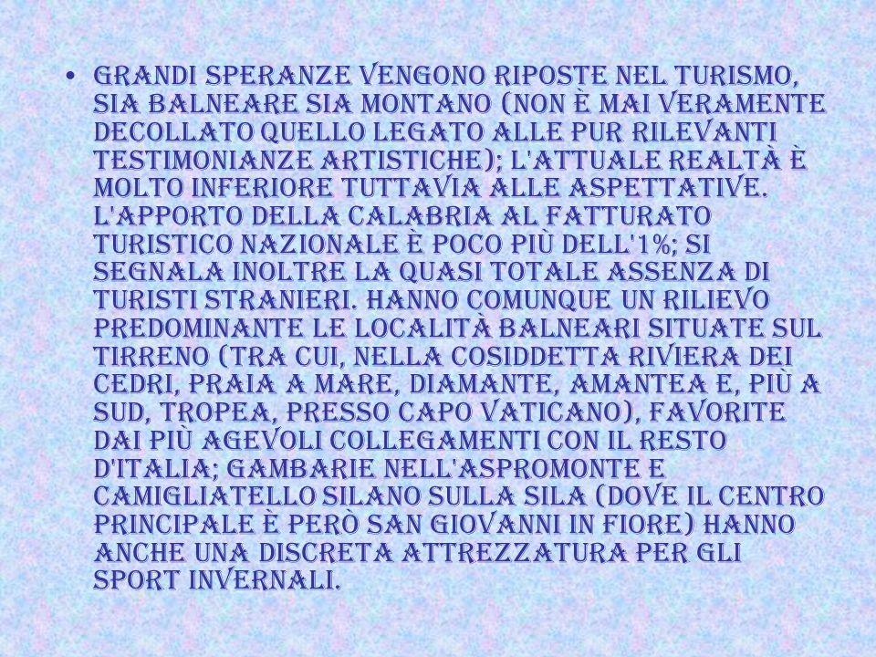 La Calabria è la regione meno industrializzata d'Italia; dà una misura del ritardo in questo ambito anche il fatto che, con una popolazione che rappre