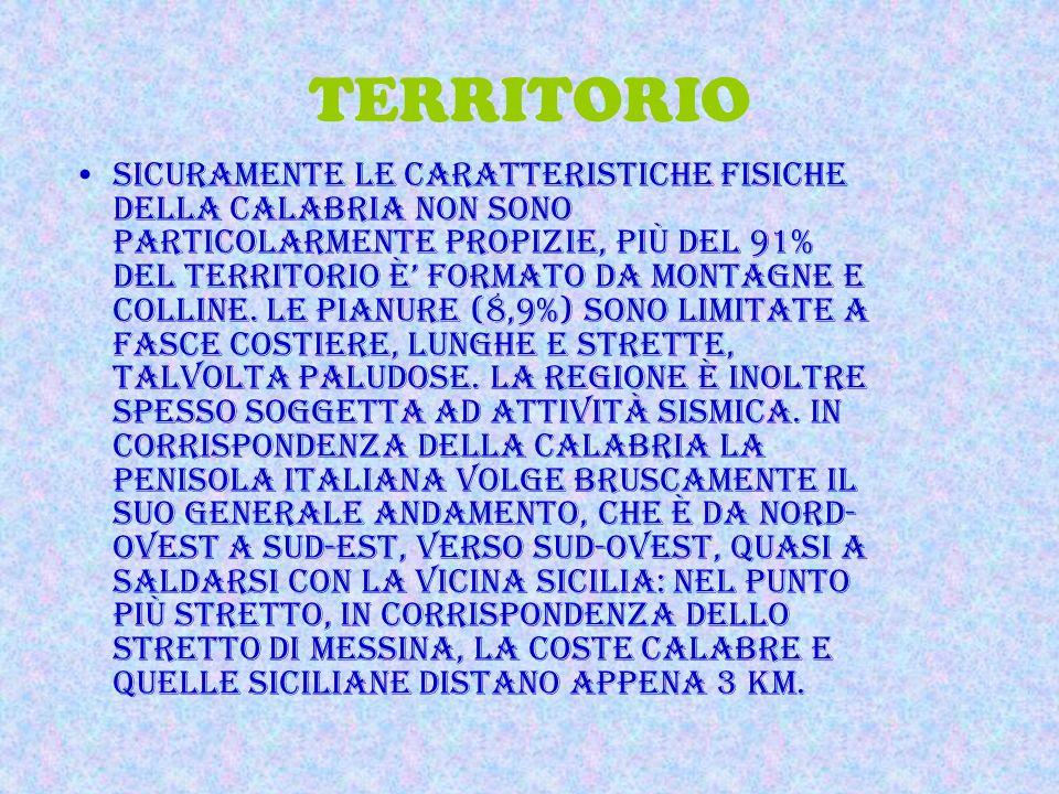 POSIZIONE E CONFINI La Calabria è una Regione dell'Italia meridionale; si affaccia sul mar Tirreno a ovest, sul mar Ionio a est e a sud, e confina con